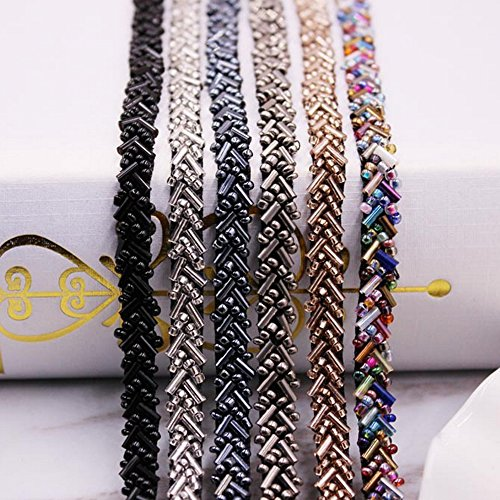 USJee 1 Yard Rhinestone Applique Crystal Patches for Wedding Sash Beaded Bridal Belt DIY Sewing Coffee