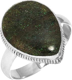 Natural Honduran Black Matrix Opal Gemstone Ring Solid 925 Sterling Silver Handmade Jewelry Size 10