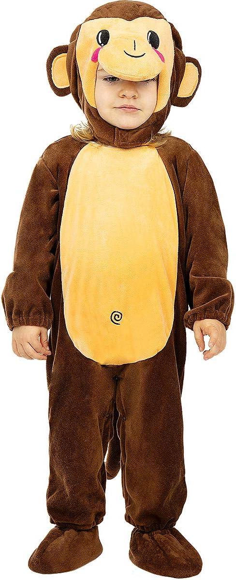 Funidelia | Disfraz de Mono para bebé Talla 12-24 Meses ▶ Animales, Chimpancé, Gorila - Color: Marrón - Divertidos Disfraces y complementos para Carnaval y Halloween