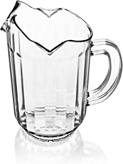 New Star Foodservice 46229 Polycarbonate Plastic Restaurant Water Pitcher with 3 Spouts, 60 oz, Clear