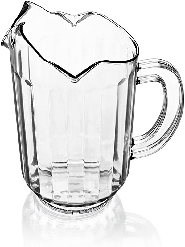 New Star Foodservice 46229 Polycarbonate Plastic Restaurant Water Pitcher With 3 Spouts 60 Oz Clear