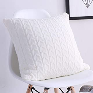 DOUH Decorative Cotton Knitted Pillow Case Cushion Cover Double-Cable Warm Throw Pillow Covers for Bed Couch 18 x 18 Inches/Cream