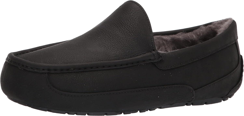 UGG mens Ascot Slipper Sale Black Matte US 13 Leather Max 41% OFF