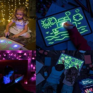 Roebii Light Up Drawing Pad, Luminous PVC Draw With Light In Darkness Child Sketchpad Fun And Developing Toy With Pen, Car...