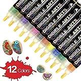 Rotuladores de Pintura Acrílico para Piedras, DIGIELE 12 Colores Permanente Marcadores Dibujar en Ceramica, Metal, Plastico, Porcelana, Tazas & DIY Art, Set de Marcadores de Regalo para Niños