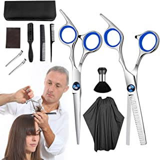 Hair Cutting Scissor Professional Kit - 11 pcs Personal Haircutting Kit Includes Barber Hair Thinning Shears,Hair Cutting Texturizing Scissors and Comb Hairpins Cape