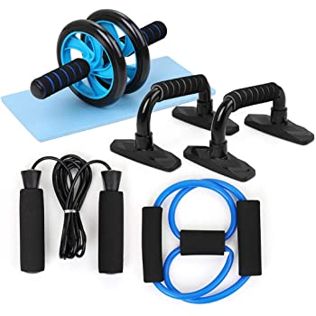 5-in-1 AB Wheel Roller Kit, Spring Exerciser Abdominal Press Wheel Pro with Push-UP Bars Jump Rope and Knee Pad Portable Equipment for Home Exercise Muscle Strength Fitness