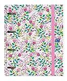 Archivador 4 anillas con recambio y goma Oxford, Colección Blossom, Tapa Extradura A4+ con Recambio 100 Hojas, Cuadrícula 5x5, Diseño claro