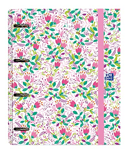 Archivador 4 anillas con recambio y goma Oxford, Colección Blossom, Tapa...