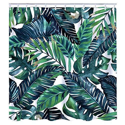 Litthing Duschvorhang 180x180 Anti-Schimmel und Wasserabweisend Shower Curtain mit 12 Duschvorhangringen 3D Digitaldruck Grüne Pflanze mit lebendigen Farben (2)