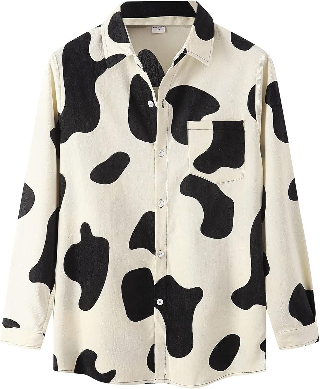 Mens Fall Tropical Shirts Long Sleeve Button Down Hawaiian Shirts 100% Cotton Regular Fit Casual Plaid Flannel Shirt