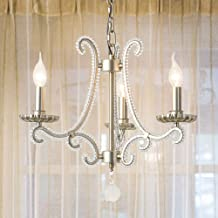 Crystal Chandelier Living Room Bedroom Restaurant Iron Art Craft Country Retro Candle Silver Ceiling Light 44x44x46cm Light Transmission Good Well-Made