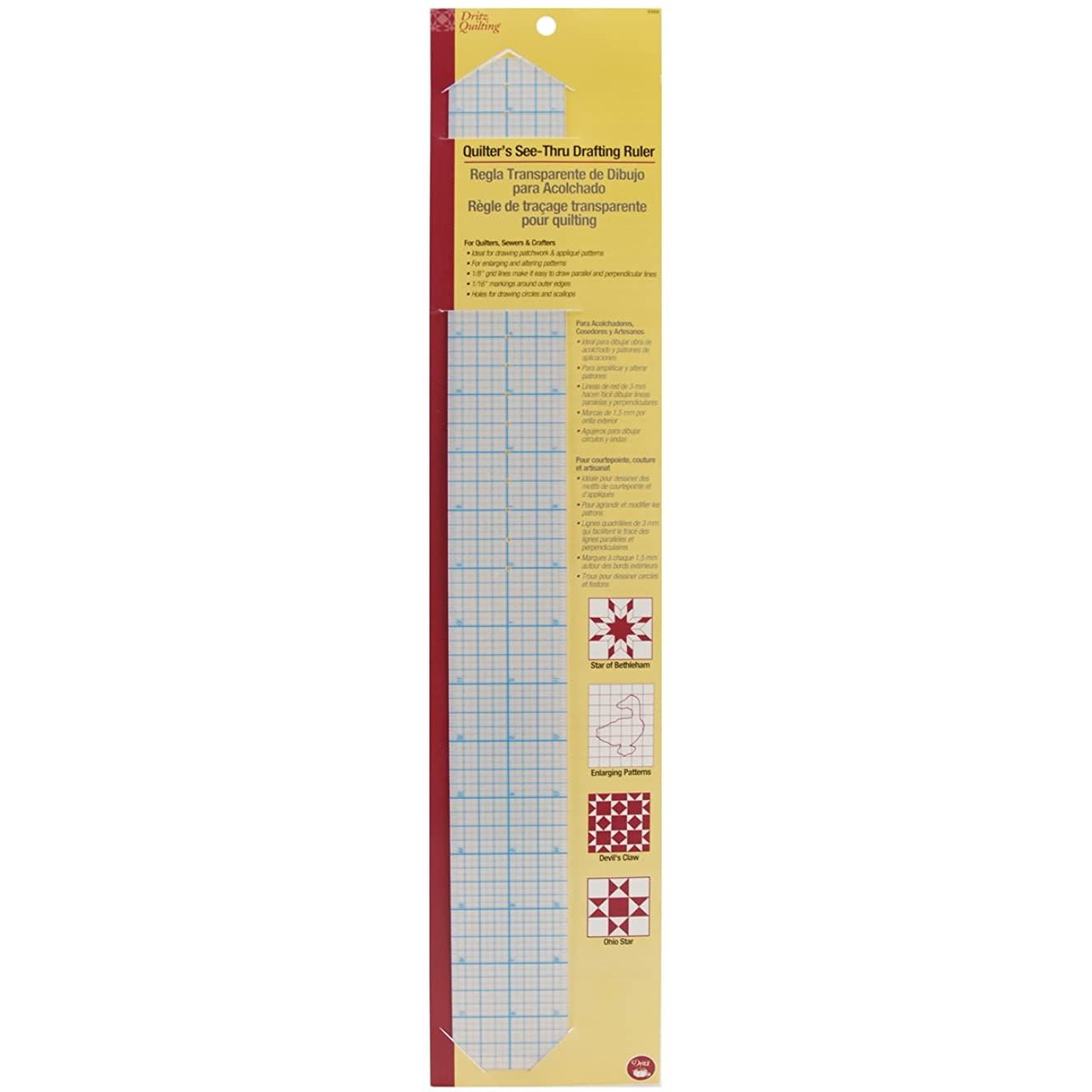 Dritz 3300 Quilter's See-Thru Drafting Ruler, 2 x 18-Inch