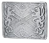 Cinturón de matar escocés para hombre, hebilla celta saltire, león rampante, acabado cromado 5000-02