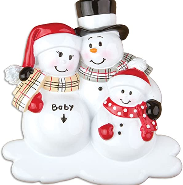 Personalized We Re Expecting With 1 Child Christmas Tree Ornament 2019 Pregnant Snowman Family Love Bump New Baby Coming Shower Boy Girl Gender Neutral 2nd Second Gift Year Free Customization