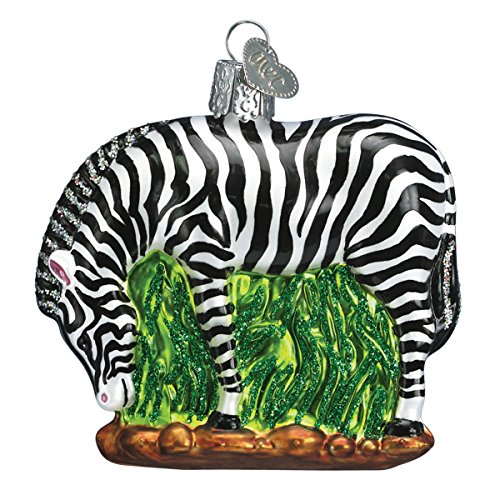 Old World Christmas Zoo and Wildlife Animals Glass Blown Ornaments for Christmas Tree Zebra