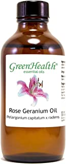 GreenHealth Rose Geranium – 4 fl oz (118 ml) Glass Bottle w/Cap – 100% Pure Essential Oil