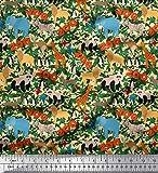 Soimoi Orange Baumwolle Ente Stoff Blätter, Papageien und