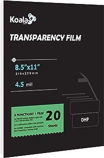 KOALA Transparency Film for Inkjet/Laser Jet Printers - 8.5 x 11 Inch 20 Sheets Printable Transparency Paper for OHP Film ...