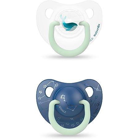 Suavinex 306801 - Pack 2 Chupetes Nocturnos para bebés 0-6 meses Con Anilla Luminiscente Tetina Anatómica de Silicona Brilla en la Oscuridad, Azul