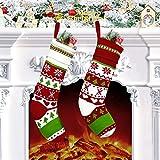 Calcetines de Navidad 2 Piezas, 46 x 4 cm, tejidoMedias de Navidad Bolsa de Regalo con Tema, Árboles Festivos, Copo de Nieve, Decoración Navideña, Adorno Navideño para Llenar y Colgar para Chimenea