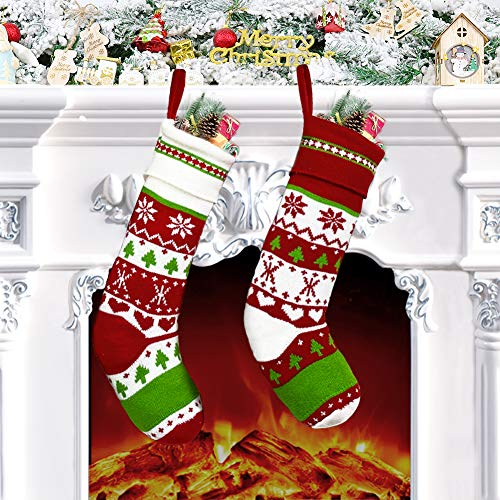 Charlemain Calza di Natale, Calza Natalizia Set 2 Pezzi per Decorazioni Natalizie (18 Pollici)