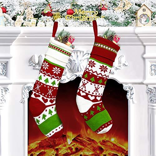 2Stück Nikolausstrumpf (46 X 14cm), Nikolausstiefel zum Befüllen, großer Weihnachtsstrumpf als Weihnachtsgeschenktasche, Weihnachtsdeko zum Aufhängen für Wand, Kamin, Treppe, Weihnachtsbaum, Zuhause