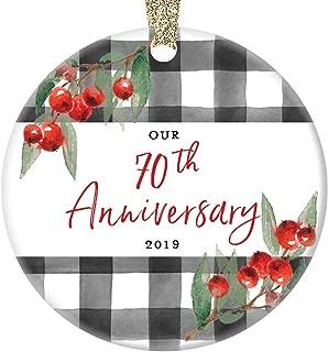 70th Wedding Anniversary Ornament 2019 Christmas Celebration Keepsake Parents Grandparents Seventieth Platinum Marriage Present 70 Seventy Years Married 3