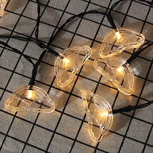 CFLFDC Lichtsnoer, 1,2 m, 10 zonne-energie, werkt op zonne-energie, wolkenlamp, LED-lamp, accu-box, zonne-ketting, 7 m, 50 licht, warm wit