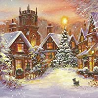 冬のDIY5Dダイヤモンド絵画クリスマスラインストーンアートダイヤモンド刺繡風景クロスステッチキット家の装飾ギフト