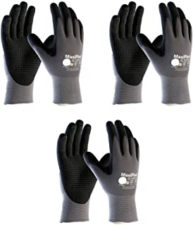 3 Pack MaxiFlex® Endurance™ 34-844 Seamless Knit Nylon Work Glove with Nitrile Coated Grip on Palm & Fingers, Sizes Small to X-Large (Small)