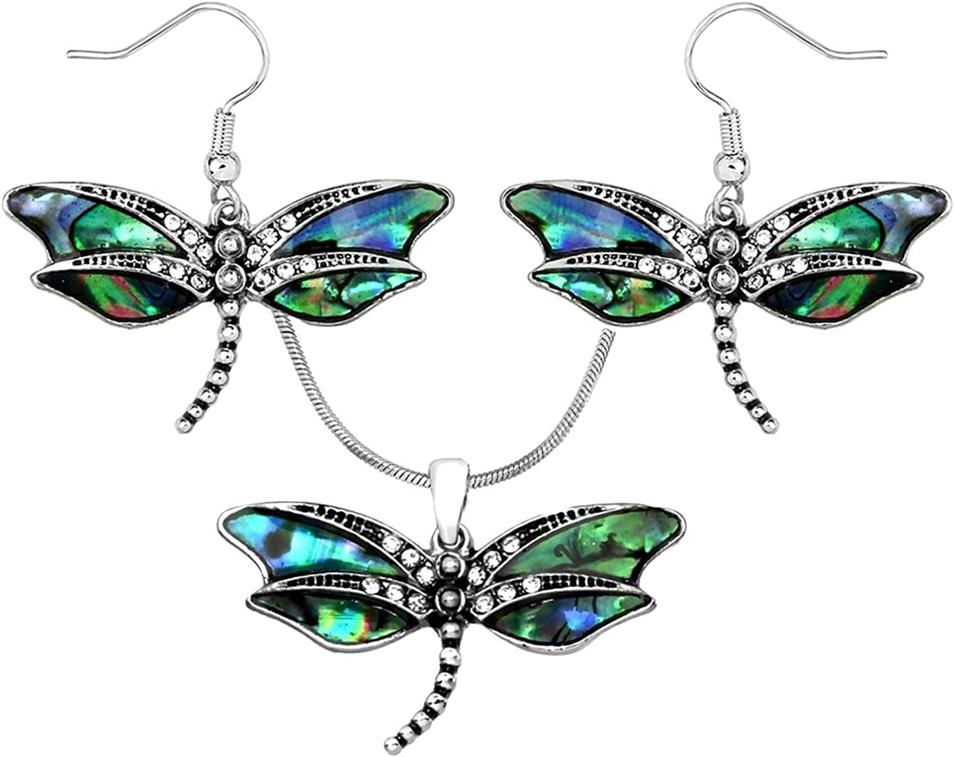 DianaL Boutique Stunning Dragonfly Pendant Necklace and Earrings Set with 19