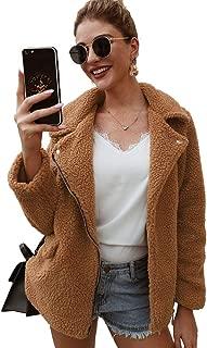 Kcatsy Women Open Front Fuzzy Sherpa Loose Warm Winter Two Pockets Coat Jacket Outwear