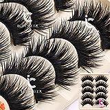 ICYCHEER 5 Pairs Mixed 3D Mink Hair False Eyelashes Natural False Eyelashes Fluffy Fake Eyelashes Dramatic Look Eyelashes Extension Makeup Long Handmade Soft Thick Lashes Resuable (008)