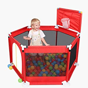 WJSW Adorable Safety Play Center Yard Playpens Baby Safety Household Fence Toddler  Preschool Toys  Playground with Breathable Mesh  Red