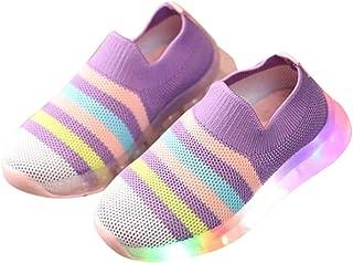 Hopscotch Girls 100% Mesh Stripes Printed LED Slip Ons in Purple Color