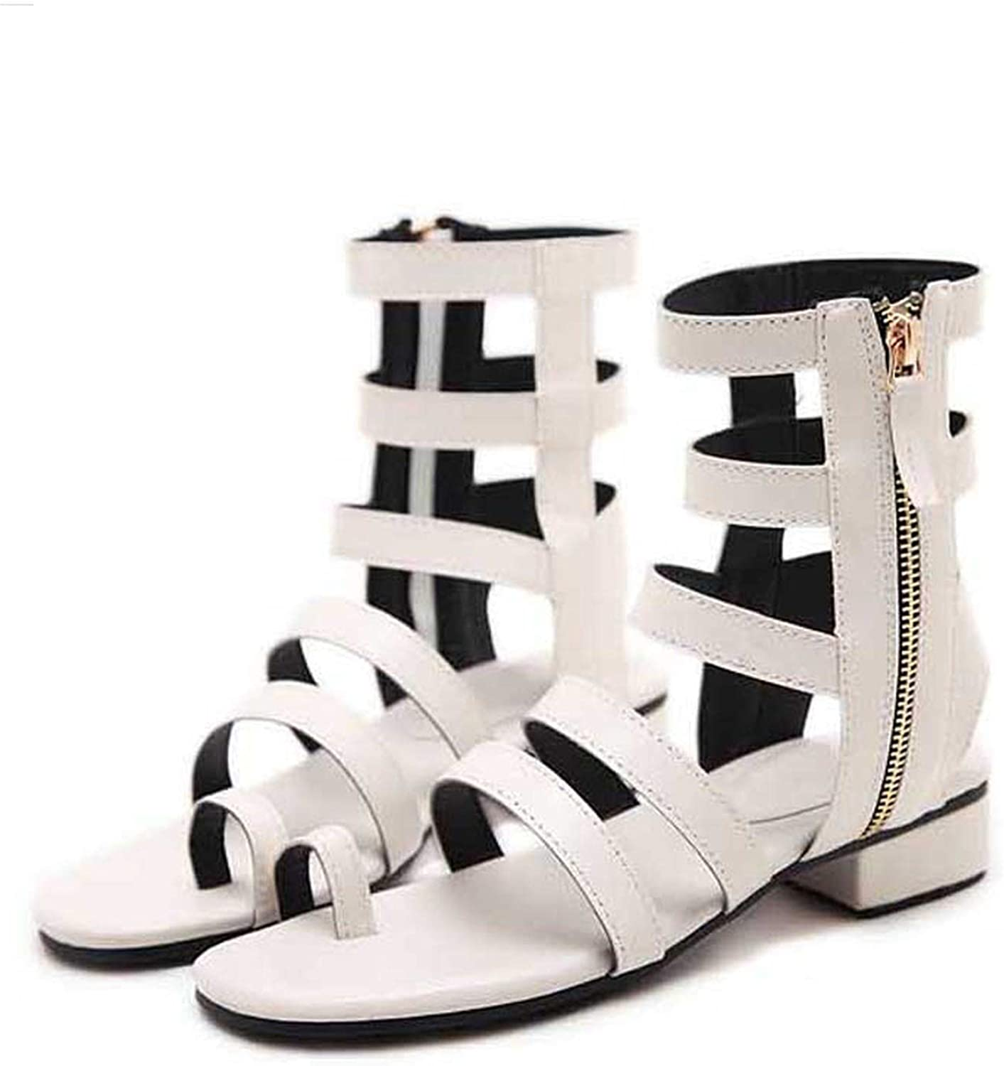 RAINIE002 2019 Women Sandals Open Toe Gladiator Sandals Boots Zipper Flat Sandals Size 35-40