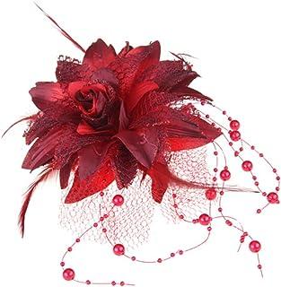 skyllc® Elastico Broche para Cabello Pluma Organdí Flor Rojo