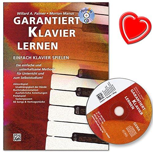 Garandeert piano leren - piano school van Morton Manus met CD en kleurrijke hartvormige muziekklem - succesvolle, Duitstalige piano school voor volwassenen