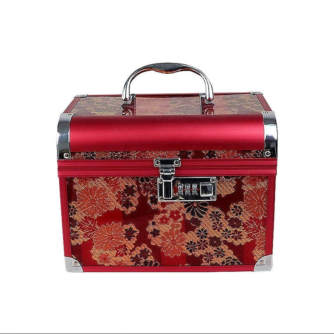ポテト脚本家追加する化粧オーガナイザーバッグ 美容メイクアップのための大容量ポータブル化粧ケース、女性用女性用旅行用品、コード付きロック付き折り畳みトレイ 化粧品ケース