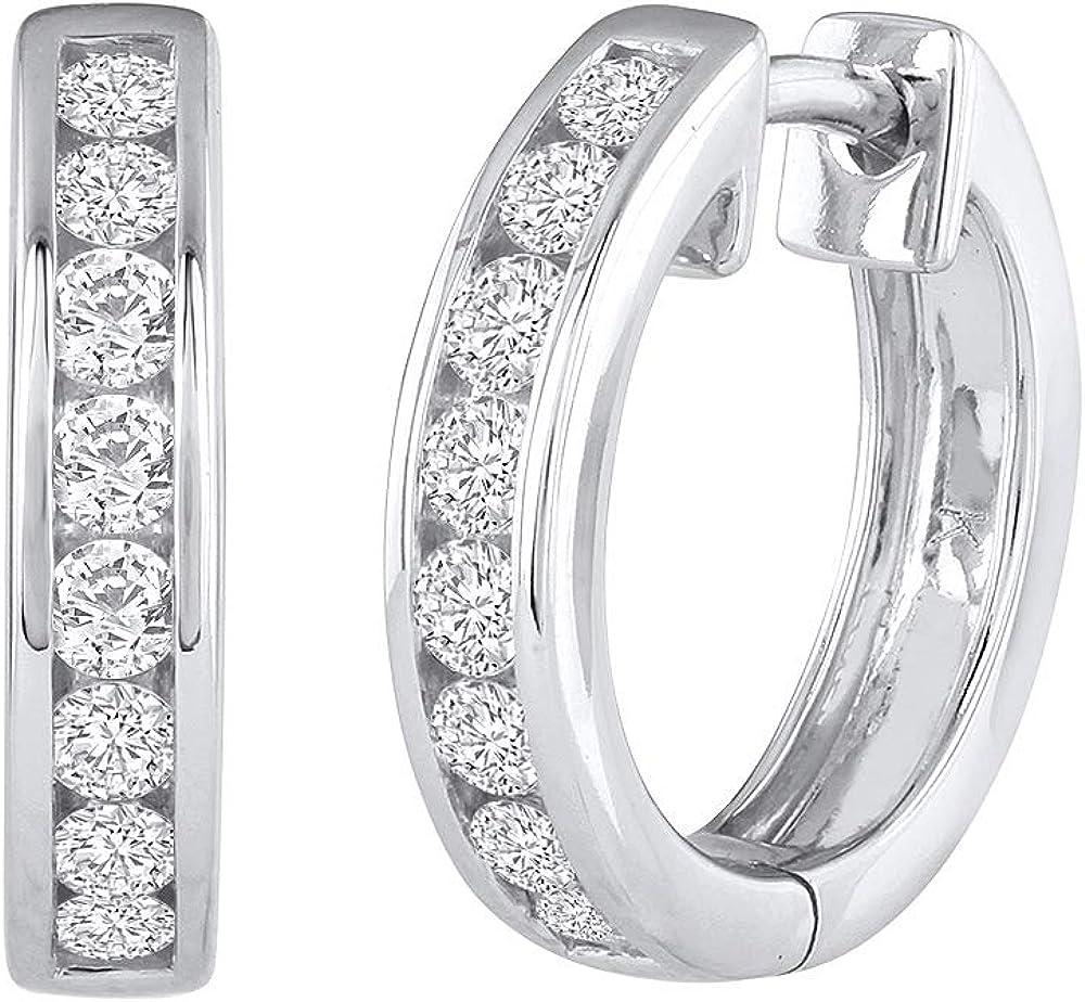 1/2 Carat Channel Diamond Hoop Earrings in 14K Gold - IGI Certified