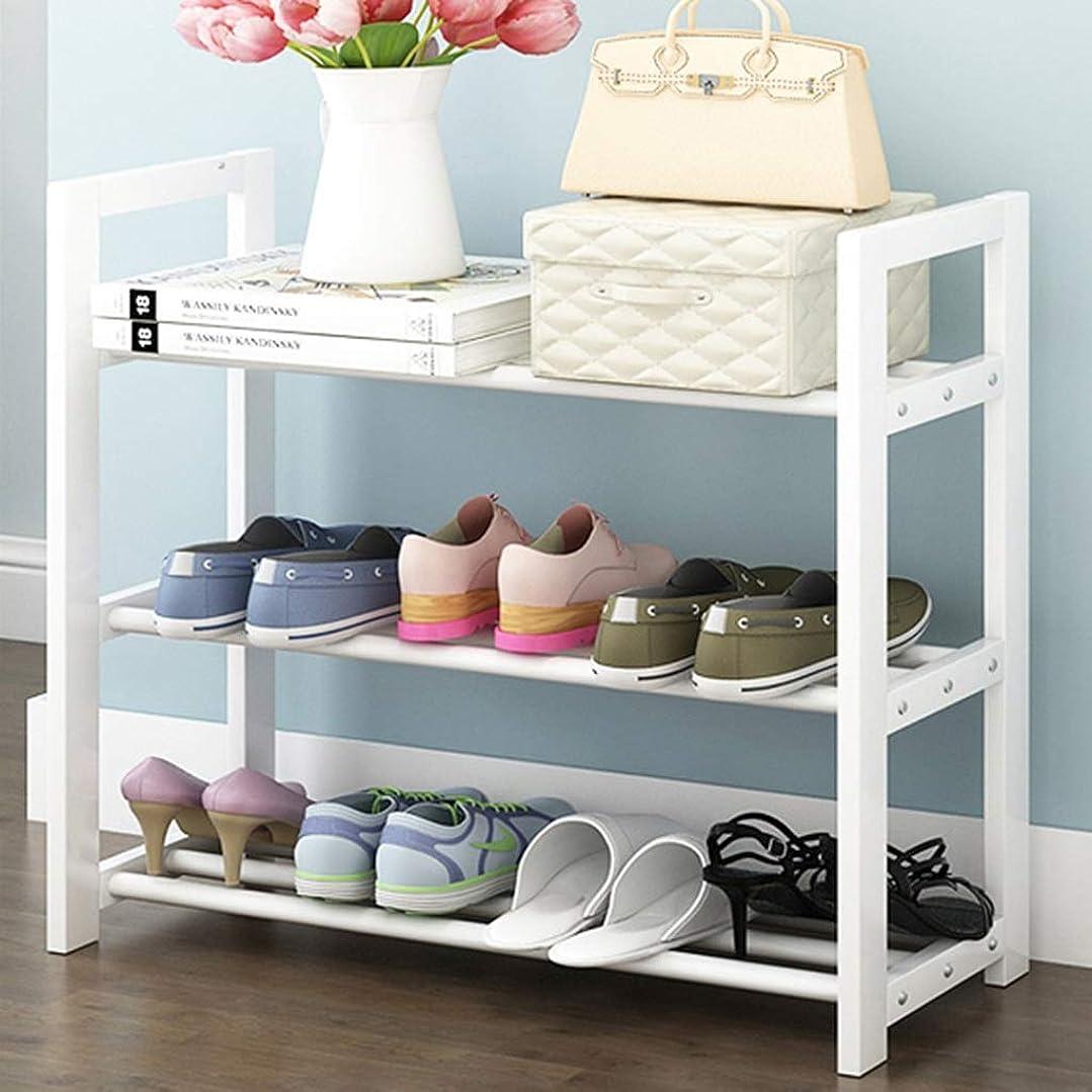早く分割服を片付けるHBJP 三層の純木の重ね合わせ靴ラック家庭用収納ラック防塵靴ラック66×30×60 Cm 靴箱 (Color : White)