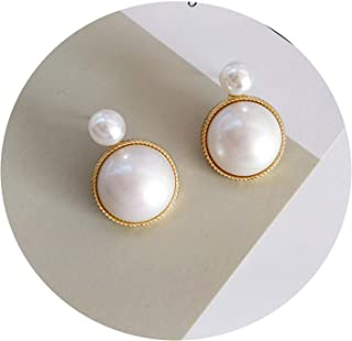 Retro Geometric Green White Imitation Pearls Round Earrings Fashion Lady Beautiful Earrings Delicate Exaggeration Earrings