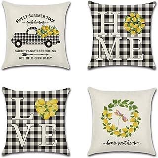 JesyLuco Summer Lemon Truck Throw Pillow Cover Home Love Plaid Cushion Case Set of 4 for Sofa Couch Car Sweet Farmhouse Decorative 18 x 18 Inches
