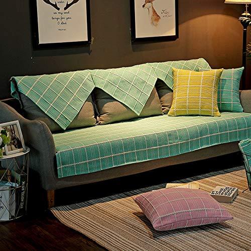 Sofabezug aus Baumwollleinen, waschbar, universell, rutschfest, 90 x 180 cm, Grau