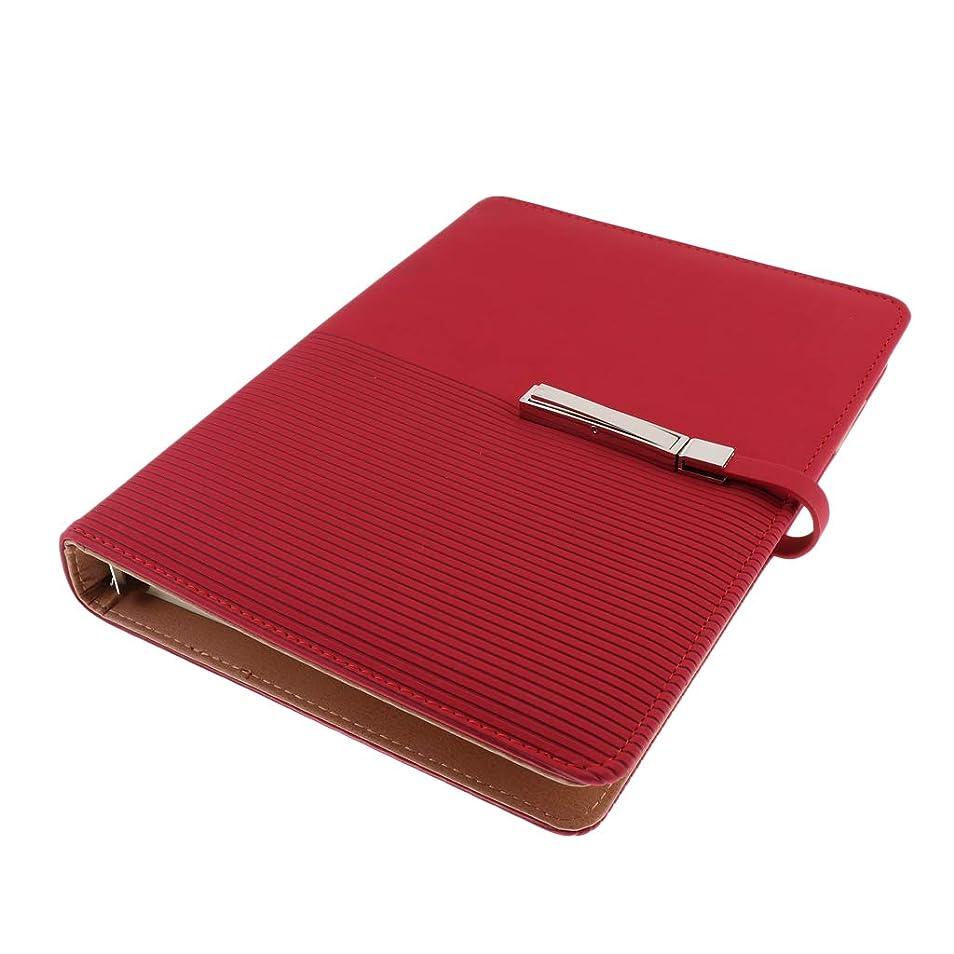アカデミーそんなに多数のA5ノート 日記 メモ PUレザー ビジネス カードスロット付 ページ詰め替え可能 - 赤