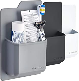 TOOLETRIES Silicone Toiletry Organizer - Waterproof Toothbrush Holder/Razor Holder for Small Toiletry Items. Designed for Shower and Bathroom. Features Silicone Grip Technology - Reusable (Grey)