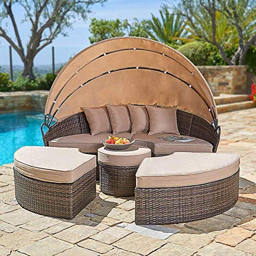 Cemeon Outdoor Furniture Patio Round Daybed with Retractable Canopy, Brown Wicker Clamshell Sectional Seating with Washable Cushions for Patio, Backyard, Porch or Poolside