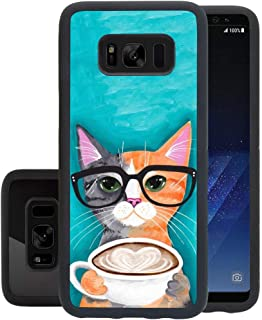 Samsung case for Samsung Galaxy S8 case Cat Coffee Slim Soft and Hard Tire Shockproof Protective Phone Cover Case Slim Hybrid Shockproof Protective Case Anti-Scratch Cushion Bumper with Reinforced Cor
