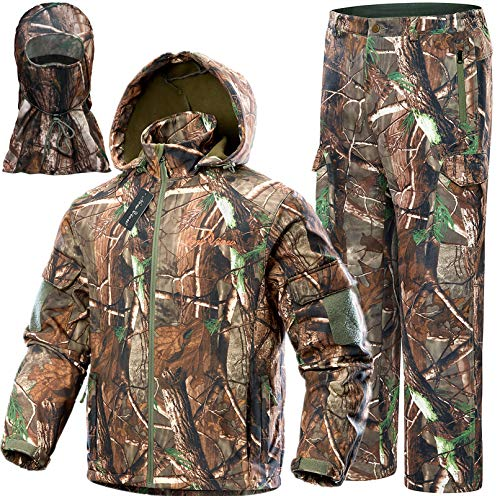 NEW VIEW Upgraded Hunting Clothes for Men,Silent Water Resistant Hunting Suits,Hunting Jacket and Pants (L, Upgrade Camo Tree)